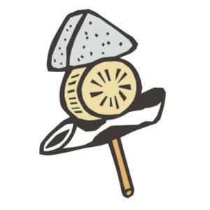 日本料理のおでんの切り絵イラスト