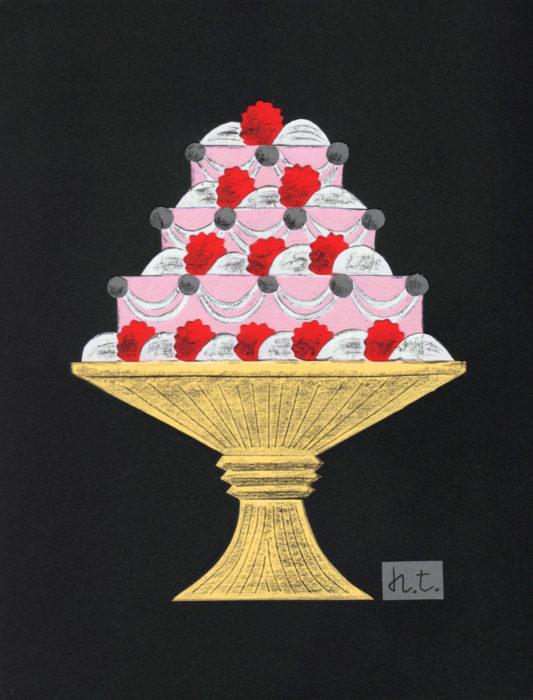 ケーキの切り絵アート作品
