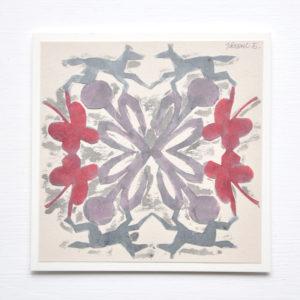 花と馬の切り絵アート作品