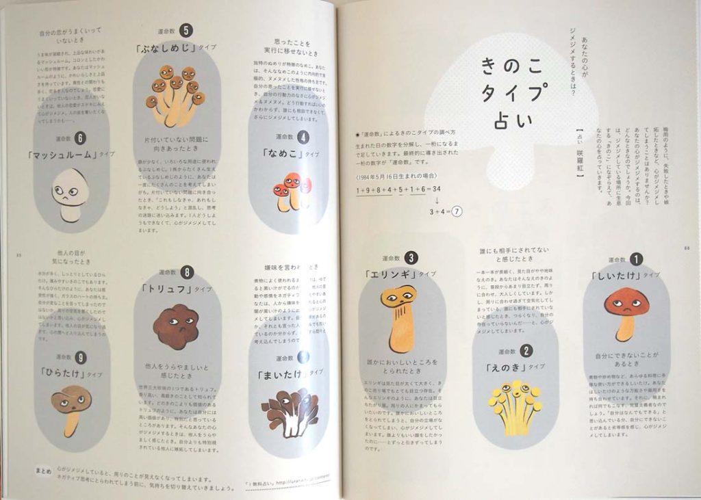女性モード社マッシュヘアカタログのきのこ水彩イラスト