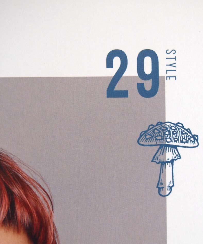 女性モード社マッシュヘアカタログのきのこドローイングイラスト