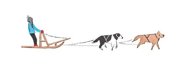 十勝地方の情報を発信するウェブメディア「トカチナベ」の犬ぞりのイラスト