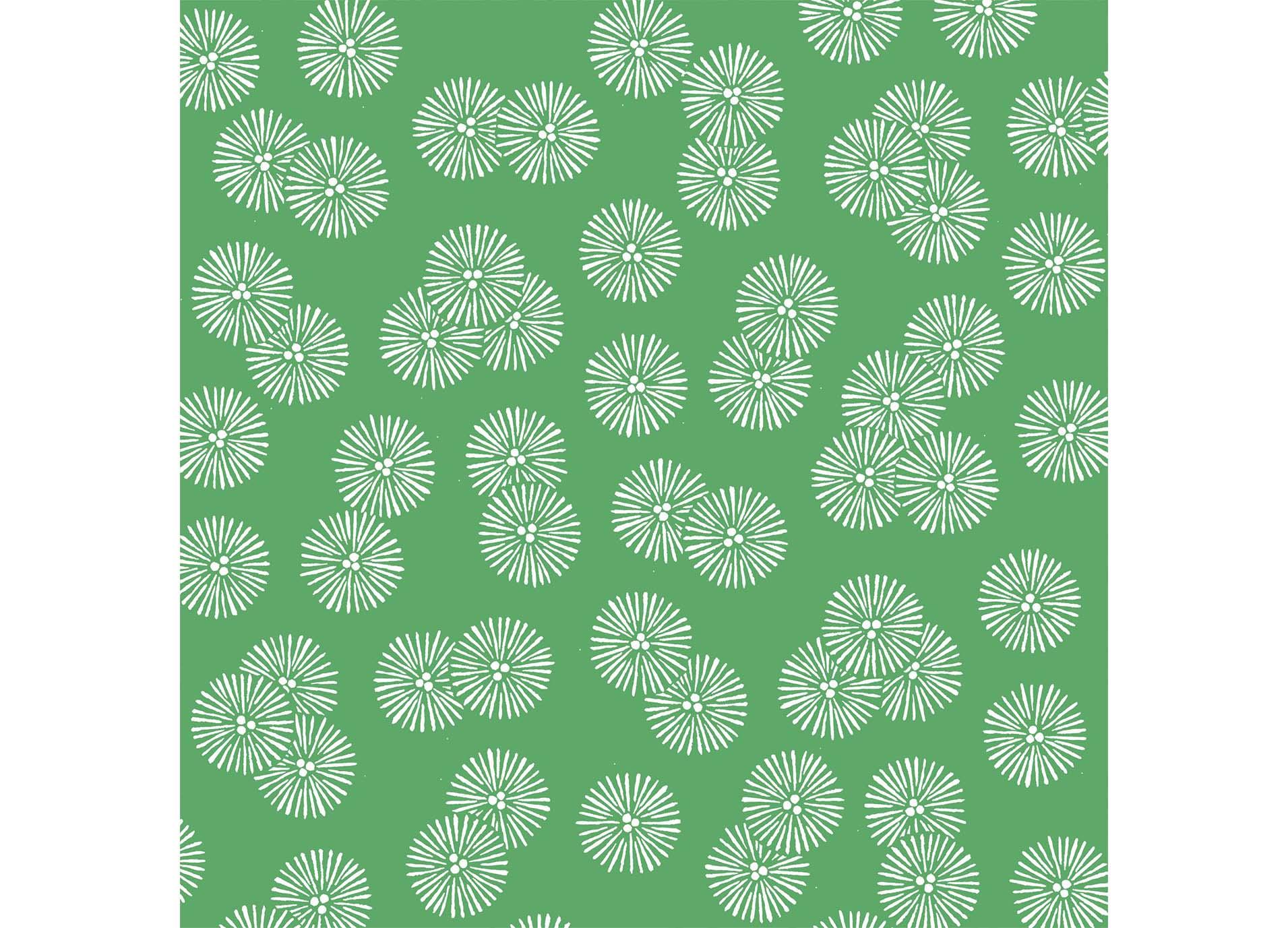 松葉の模様で描いた和柄パターン。松は常緑で、非常に寿命が長く、大木に育つことから「常盤の松」と言われ、吉祥な木とされています。松の幹、枝、葉などが多様に意匠化されました。 特に、若い松の木は「若松」と呼ばれ、お正月の門松などに用いられます。新しくめでたいものを象徴する吉祥な植物とされています。 また、下に掲載した「松葉」は独特の形をしており、デザインのバリエーションも多く、衣類から工芸品まで幅広く用いられています。