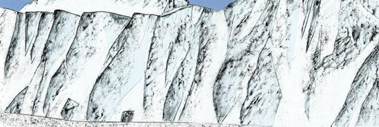 HESTRAグローブカタログの山の風景を描いた切り絵イラスト