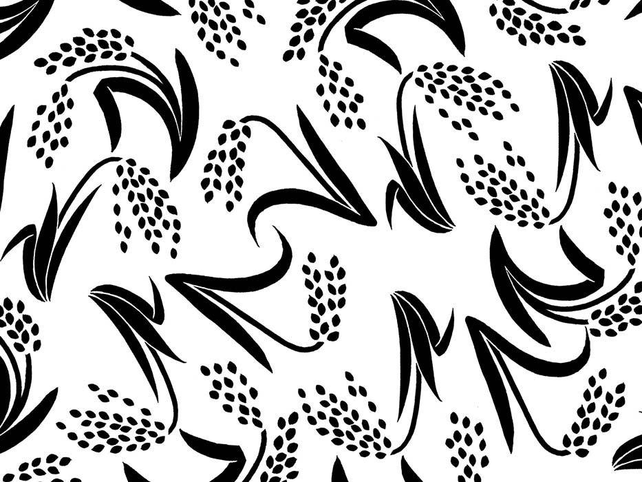 稲のモノトーンのドローイングイラスト
