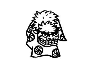 獅子舞の版画風モノトーンイラスト