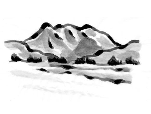 八海山の山の水墨画風イラスト