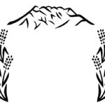 山と稲穂のモノトーンの切り絵イラスト