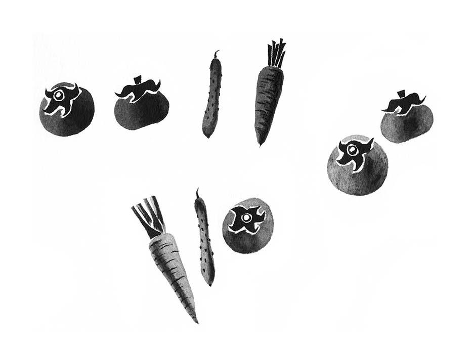 野菜の水墨画風イラスト