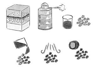マルハチかつお出汁製法のモノトーンのドローイングイラスト
