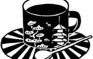 珈琲カップに奈良の風景イラストを配置したモノトーン水彩イラスト