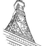 モノトーンの浮世絵風ドローイングイラストの北海道時計塔