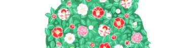 霊園パンフレットの椿の水彩イラスト