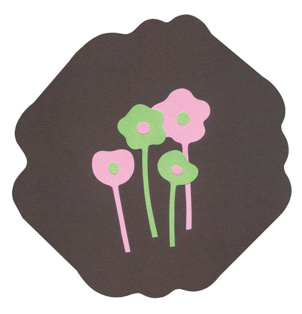 花をイメージしたシンプルな切り絵イラスト