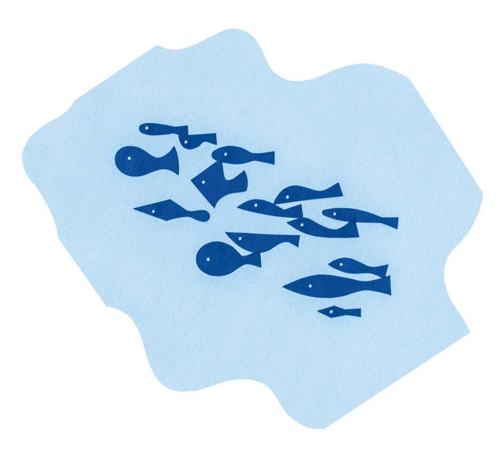 魚をイメージしたシンプルな切り絵イラスト