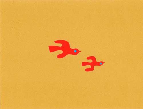 鳥をイメージしたシンプルな切り絵イラスト