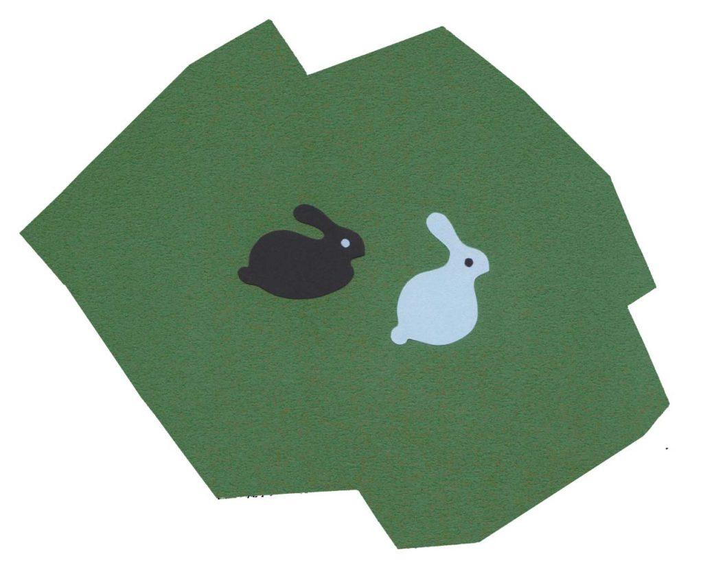 ウサギをイメージしたシンプルな切り絵イラスト