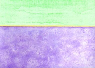 水彩で描いたラベンダー畑の風景