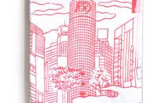 渋谷109とのコラボTシャツ。浮世絵で現在の渋谷の町並みを表現した。