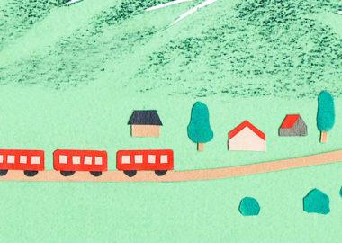 ランドネ2019年3月号の電車と山をテーマにした切り絵で制作したイラスト