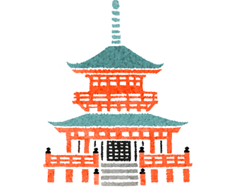 雑誌ananの開運行動学特集の京都奈良の和風イラスト