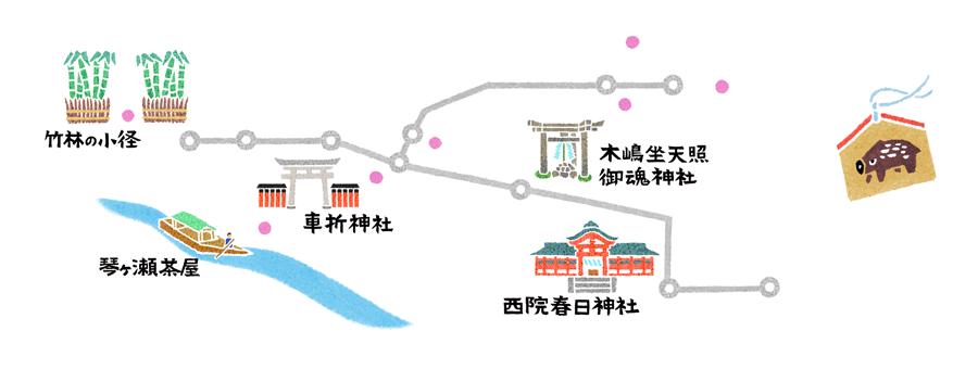 雑誌ananの開運行動学特集の京都奈良の和風イラストマップ