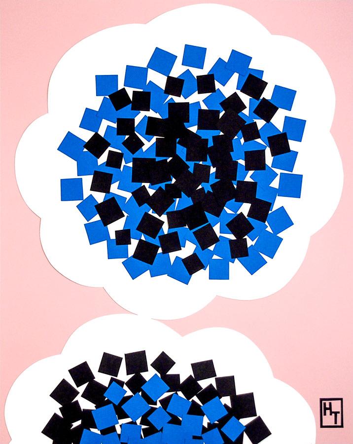 青いおしべの花の切り絵イラスト