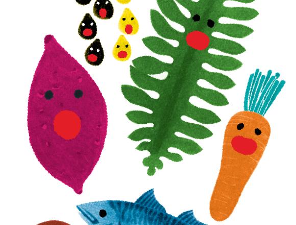 野菜と魚のポスターイラスト