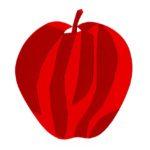 りんごの切り絵イラスト