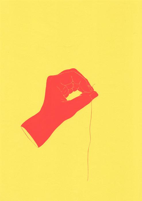 糸を持った人の手のイラスト
