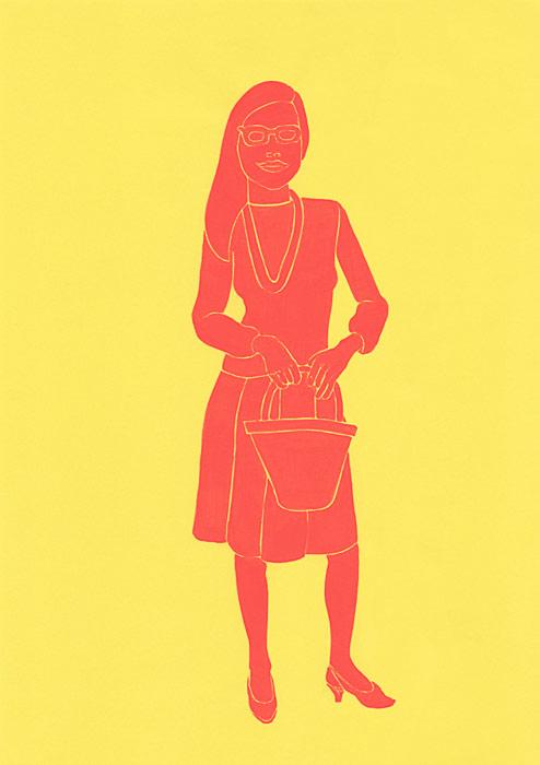 サングラスをかけた笑っている女性の人物イラスト