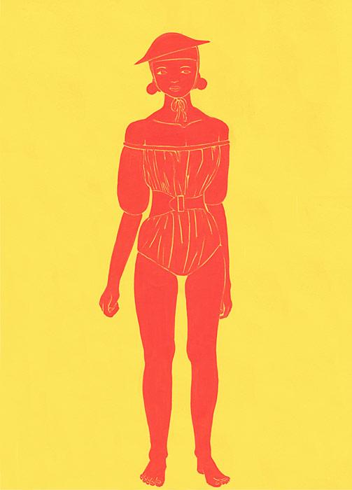 水着を着て立っている女性の人物イラスト