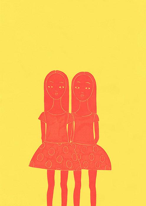 双子の女の子の人物イラスト