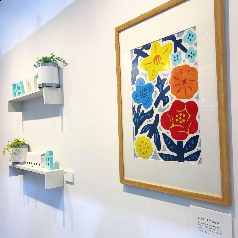 カラフルな花の切り絵イラスト