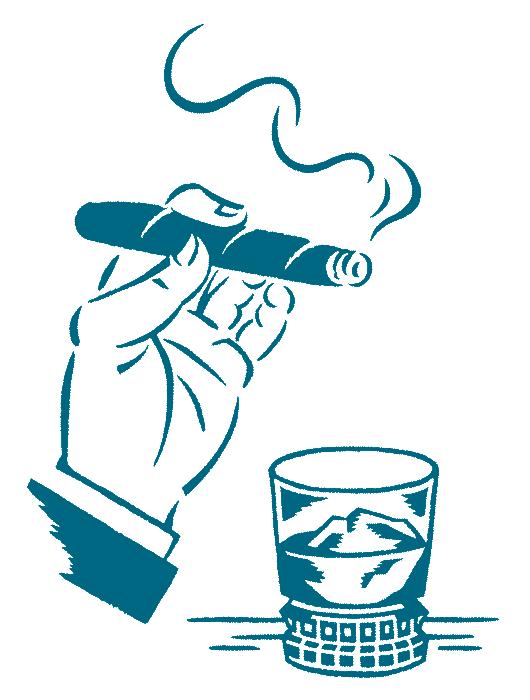 葉巻とグラスの単色イラスト