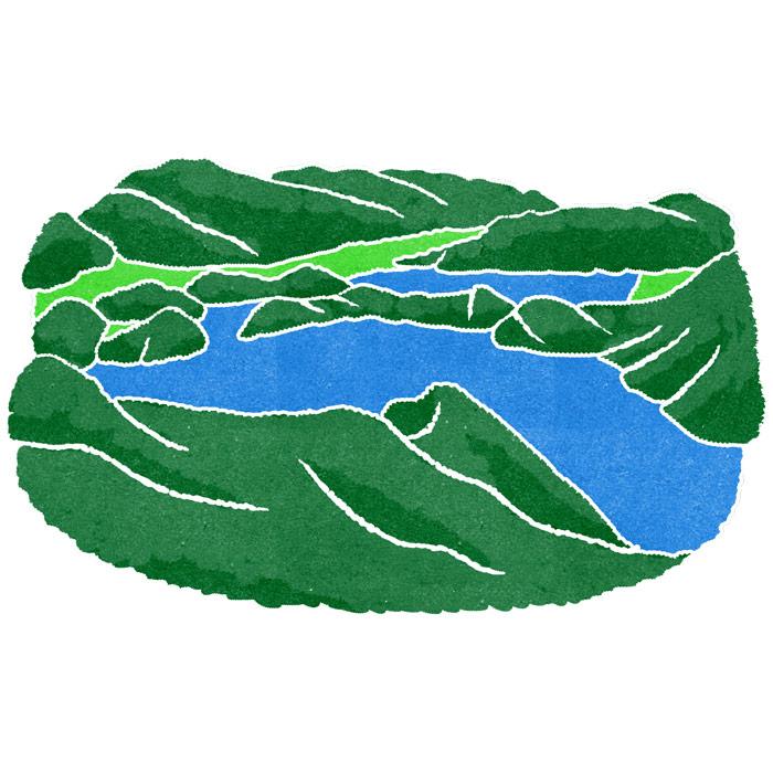 水彩風地図のイラストの景色