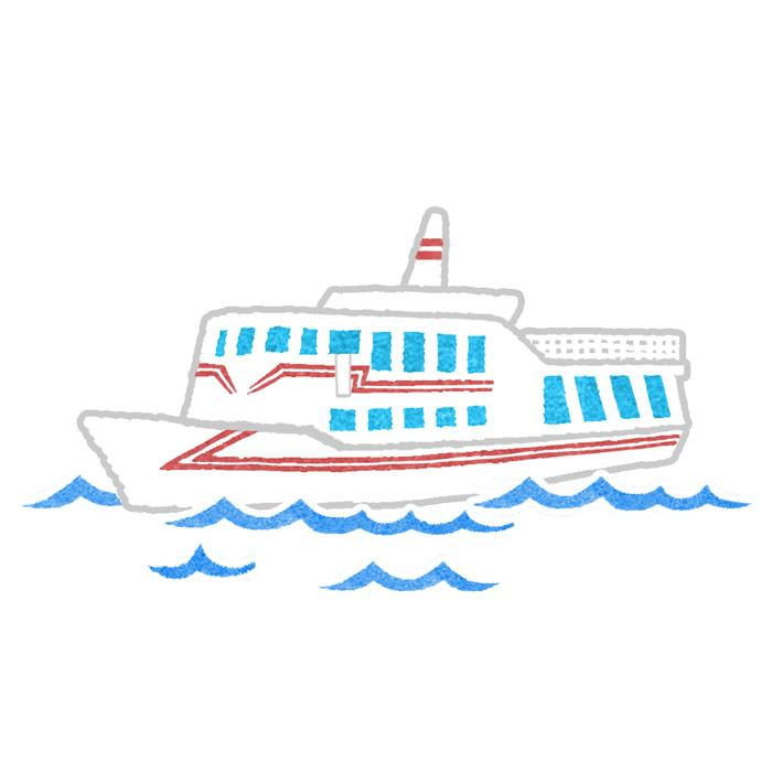 水彩風地図のイラストの船