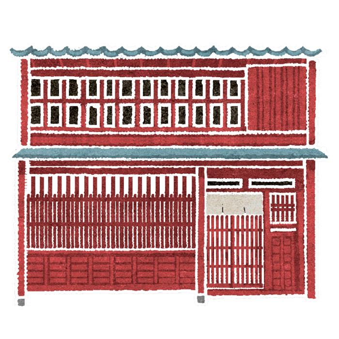 水彩風地図のイラストの家