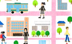 女子中学校周辺地図イラスト