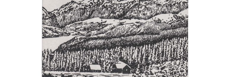 冬の景色のペン画イラスト