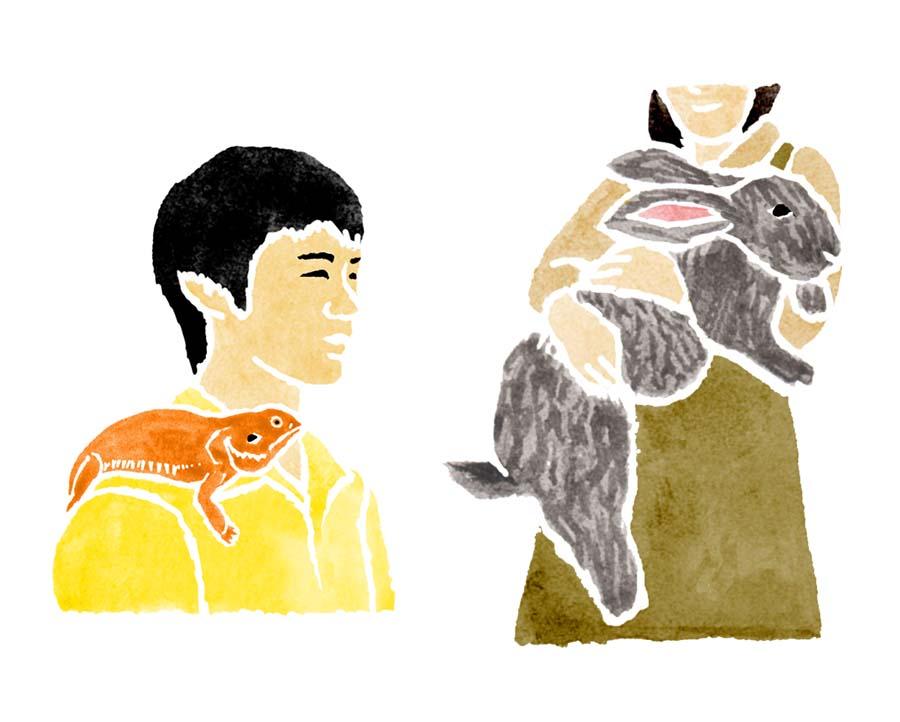 トカゲとウサギの水彩イラスト