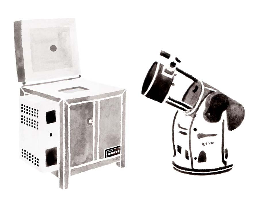 望遠鏡と電気釜の水彩イラスト