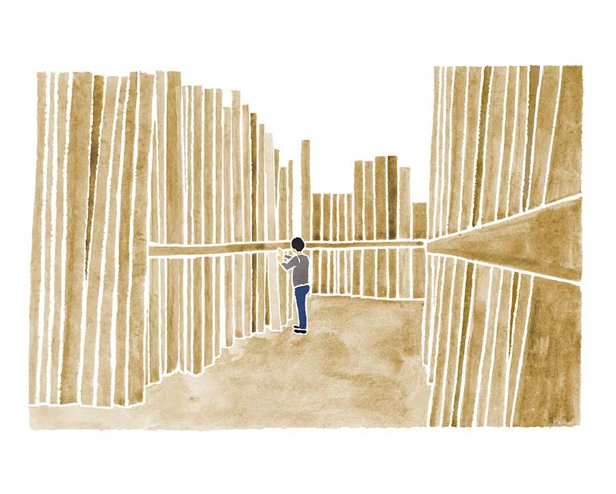 木材の水彩イラスト