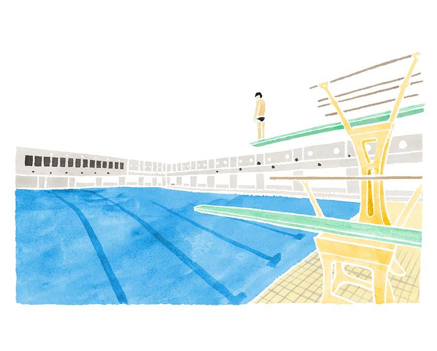 プールの水彩イラスト