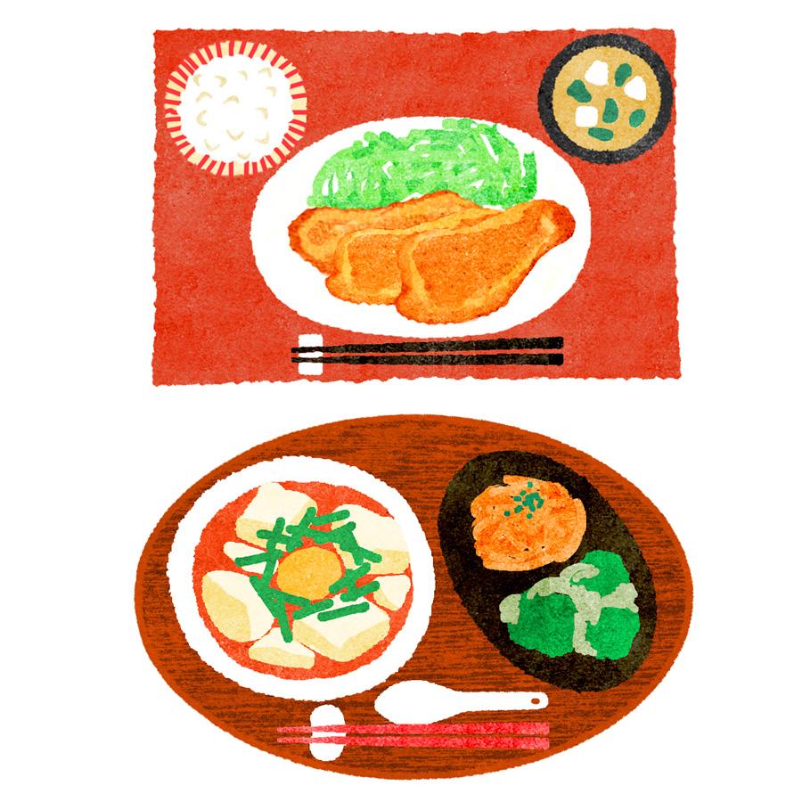 生姜焼きとスンドゥブの定食イラスト