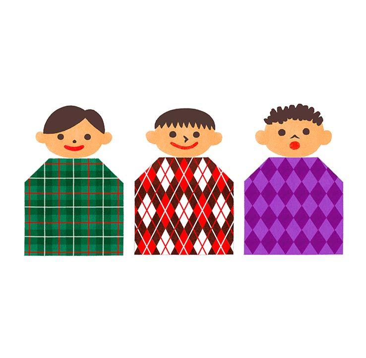 模様の服を着た子供イラスト