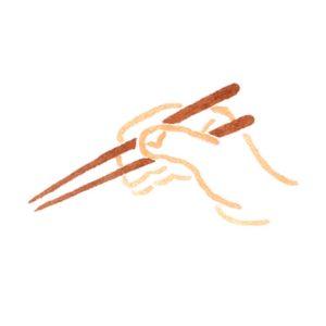 箸を持つ手の水彩イラスト