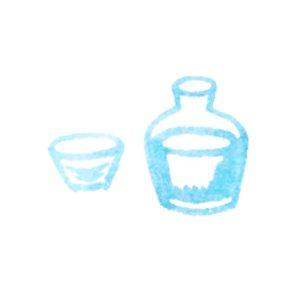 日本酒の酒器の水彩イラスト
