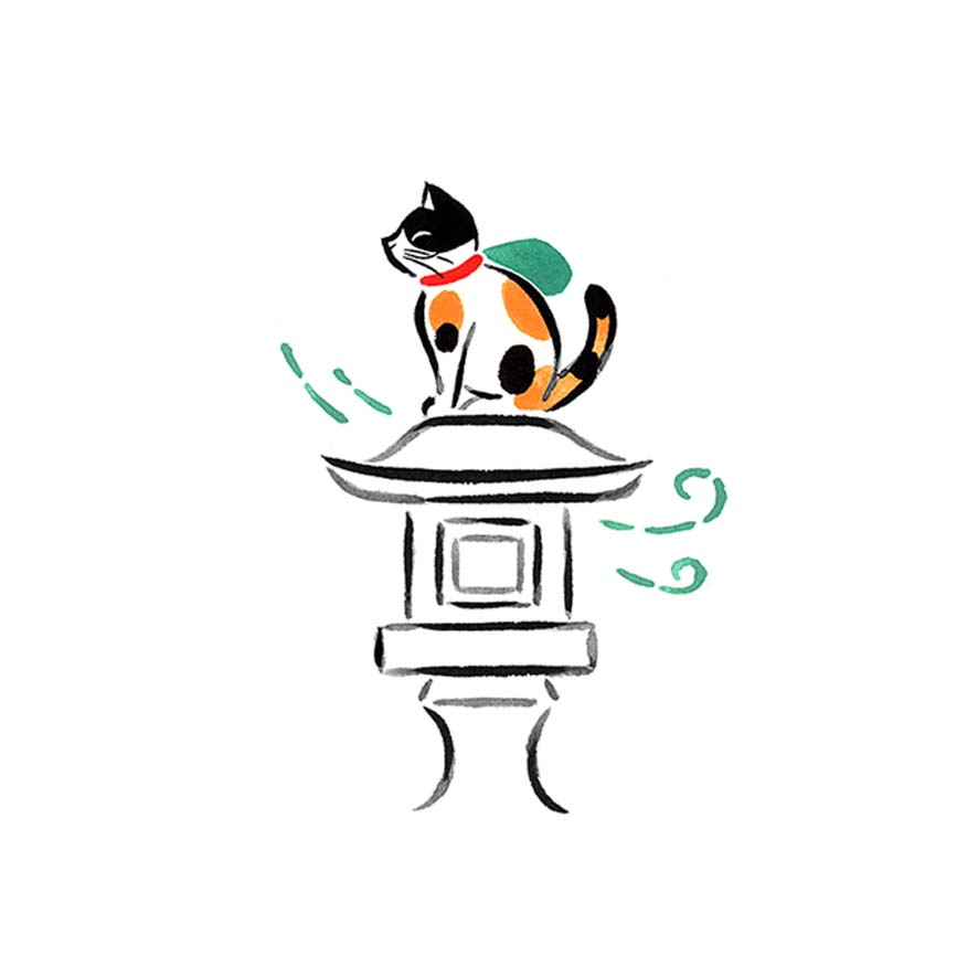 猫の水彩イラスト