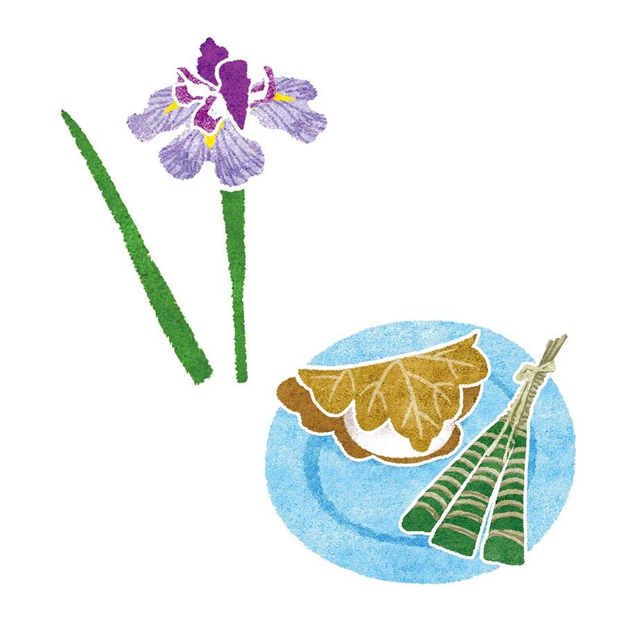花菖蒲と柏餅、ちまきの水彩風イラスト